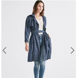 LUCKY BRAND Indigo Blue polka dot Trench Coat XS